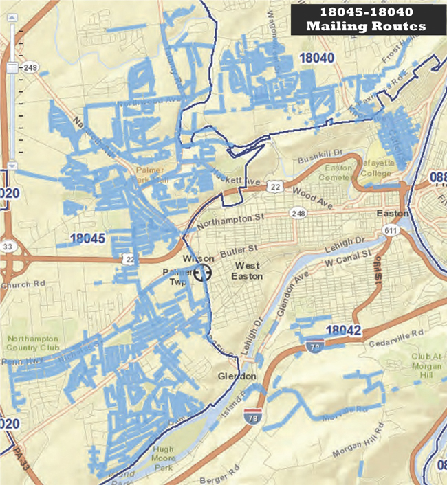 Suburban Easton Delivery Area